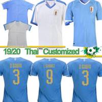 camisas de futebol uruguai venda por atacado-Camisa de futebol tailandesa 2019 Copa América Uruguai 19/20 Casa 9 L.suarez 21 E.cavani Camisa de futebol # 3 D.GODIN Fora Uniformes de futebol da equipe nacional