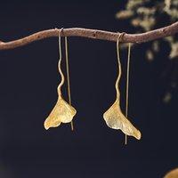echte goldene ohrringe für frauen groihandel-Mode Real Sterlingsilber 925 baumeln lang Ohrringe Modeschmuck Vintage Gold Ginkgo-Blatt-Tropfen-Ohrringe für Frauen
