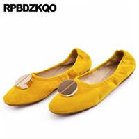 Beleg auf braun chinesisch gelb Designer weiche Ballerinas Frauen Metall Ballerina echtes Leder und Wildleder fahren blaue Schuhe neueste