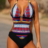 monokini mayo xxl toptan satış-2019 Seksi Baskı Trikini Mayo Kadınlar Tek Parça Mayo Monokini Bandeau Backless Brezilyalı XXL Artı Boyutu Mayo Şınav
