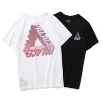 черная белая пара футболка оптовых-Дворцы мужская роскошная футболка модельер трехмерный треугольник печати футболка улица хип-хоп черный белый шею футболка пара