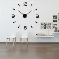 adesivo de acrílico 3d venda por atacado-16 polegadas Novo 3D DIY Grande Relógio de Parede Espelho de Quartzo Acrílico Moda Art Home Decor Adesivos de Parede Relógio Terno Sala de estar Relógio de Casa