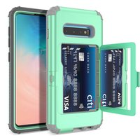 Wholesale card holder mirror for sale - Group buy For Samsung S10 Plus Case Wallet Design with Hidden Back Mirror and Card Holder Heavy Duty Shockproof Protective Case for Samsung S10
