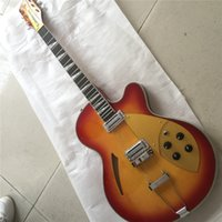 Wholesale free shipping left handed guitar for sale - Group buy 2019 Ricken hollow Body Jazz Electric Guitar Archtop Guitar Sun color Paint Maple texture Golden Pickguard