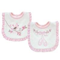 bebek bandana giysileri toptan satış-2 katmanlar Pamuk Bebek Pembe Çiçekler Dantel Önlükler Su Geçirmez Bandana Bebek Kız Işlemeli Önlükler Burp Bezleri Giyim Havlu