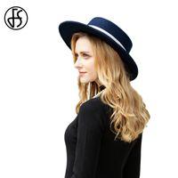 chapéu de feltro azul venda por atacado-FS 2019 Wool chapéus de feltro Mulheres Fedora Hat Aba larga Azul marinho fita Lady elegante Outono Inverno Flat Top Cloche Bowler Chapéus