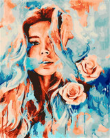 Wholesale oil painting for wall decoration resale online - ZYXIAO Posters and Prints people girl flower rose Oil Painting Canvas No Frame Wall Pictures for Living Room Home Decoration YH0188