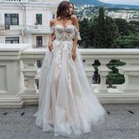 Wholesale floor length wedding dresses wrap resale online - 2020 Off Shoulder A Line Wedding Dress Sexy Backless Floor Length Bride Gown Custom Made Plus Size Bridal Dress