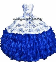 ingrosso merletto bianco blu-Bianco Royal Blue Ball Gown Quinceanera Abiti in pizzo 2019 Ricamo volant lace-up corsetto Sweet 16 Dress Vestidos De 15 Anos