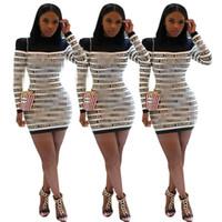 modelos encantadoras sexy al por mayor-YZ1140 Europa y América explosiones manera de las mujeres transfronterizas carta comercio exterior impresión costura vestido de otoño e invierno