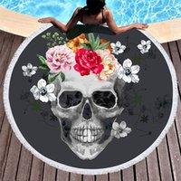 siyah şeker toptan satış-1 Parça Şeker Kafatası Yuvarlak Plaj Havlusu Çiçek Püskül Goblen Siyah ve Beyaz Çiçek Yoga Mat Şık Toalla Battaniye 150 cm