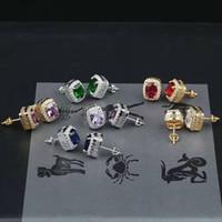 ingrosso orecchini di smeraldo-hip hop gemme colorate orecchini a bottone di design di lusso da uomo bling orecchini di diamanti ghiacciati rosso verde blu gemma rubino smeraldo gioielli con zaffiro