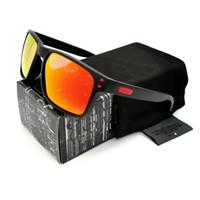 Wholesale sports sunglasses logo resale online - Reliable Quality Fashion Top Polarized Sunglasses for Men Black VR46 Frame Red Logo Fire Lens NEW9244 Brand Glasses