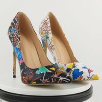 china moden schuhe großhandel-ZK Damenmode High Heels sexy 12cm Stiletto Ferse Kleid Schuhe große Größe Pumpen China Größe 34-45