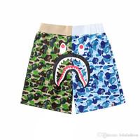 ingrosso corti blu stella-Pantaloncini mimetici blu verde estivo da uomo di marca Pantalone da spiaggia stile hip-hop Hot Star Shark Camo Pantaloncini da uomo da donna