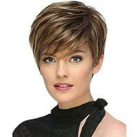 ingrosso parrucche realistiche dei capelli-Parrucca di capelli di vendita calda femminile Realistico naturale misto colore obliquo frangia capelli corti cappuccio in fibra chimica