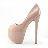 bombas de dedo do pé abertas nu venda por atacado-Nude Preto Couro De Patente Ultra High Heel Sapatos 16 cm Alta Plataforma De Salto Alto Bombas Para As Mulheres Stiletto Heels Open Toe Sapatos Vestido Plus Size