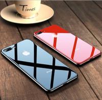 cajas del teléfono celular a prueba de golpes al por mayor-Caja del teléfono celular del espejo de cristal templado para iPhone X XS XR XSMAX 8 7 iPhone 6 S 7Plus 8Plus cubierta a prueba de choques de lujo