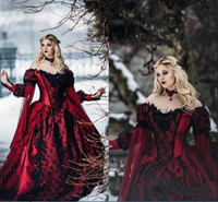 Discount gothic victorian long sleeve gowns New Gothic Sleeping Beauty Princess Medieval burgundy and Black Wedding Dress Long Sleeve Lace Appliques Victorian masquerade Bridal Gowns