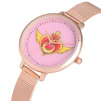 relógio quartzo asa venda por atacado-Mulheres Padrão Quartz Relógio Adorável Sailor Moon amarelo amor asa Dial presentes Relógio de pulso de aço inoxidável Caso Girls Veja Xmas