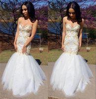 dresses vestidos de baile à noite venda por atacado-2K17 White Gold Lace Sereia Prom Dressess Querida Sexy Strapless Corset Voltar Beads Tulle Formal Longo Noite Maxi Vestidos