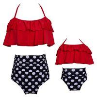 roupas de banho venda por atacado-Mãe e filha swimwear folha de lótus borda forma de maiô impressão de cintura alta natação terno vestidos de nylon nova camisola 35hy2b1