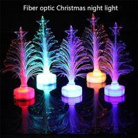 fiber optik yılbaşı ağacı toptan satış-Yaratıcı Renkli Parlayan Fiber Optik Yılbaşı Ağacı Renk Süsleme Noel Işıklar Mini Noel ağacı LED