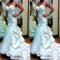 Wholesale mermaid wedding dress taffeta for sale - Vintage Mermaid Wedding Dresses Sweetheart Beads Pleats Sequins Vintage Bridal Gowns Tiered Satin Plus Size Wedding Dress