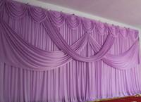 cortina púrpura de la boda al por mayor-3X6M Romantic Wedding Púrpura Drape Telón de fondo Cortina Con Swag plisado para boda EventPartyBanquet Decoratio