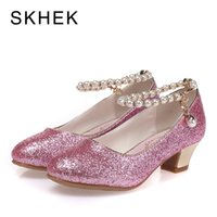 Wholesale white princess wedding shoes resale online - SKHEK Kids High Heel Shoes For Girls Party Shoe Beaded Lace Wedding Children Shoes Leather Princess Shoe Red White Size