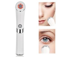 massager olho rosto venda por atacado-Sonic Eye Massager Aquecido Elétrico Rosto Caneta de Levantamento Da Pele Aperto de Vibração Rugas Dispositivo de Círculos Escuros Presente T190712