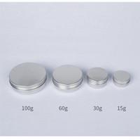 emballages de bouteilles en aluminium achat en gros de-Pots en aluminium vides de 15g / 30g / 60g / 100g pots de crème cosmétique rechargeables d'onguent de bouteille d'échantillon d'emballage de récipients d'emballage