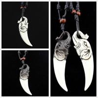 ingrosso collana di resina nera-La collana d'argento nera graziosa del cavo del pendente della collana del pendente del choker di forma dell'avorio di resina tribale calda libera il trasporto