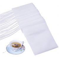 Wholesale drawstring tea filters resale online - 100Pcs Tea Filter Bags Non Woven Disposable Drawstring Tea Bag String Heal Seal Filter Bag for Herb Loose Tea Drinkware