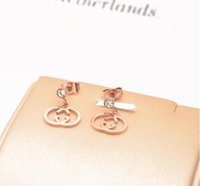 Wholesale 18k sample resale online - New high quality bohemian titanium steel k rose gold color gold earrings ladies clothing gift fashion accessories