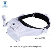 óculos de reparação venda por atacado-Óculos Magnifier Headband Capacete Lupas Led lluminated Magnifier Lupa Optical Glasses Len Magnifier Reading Repair T200521