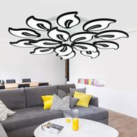 araña grande negro moderno al por mayor-Negro / blanco acrílico moderno LED araña para sala de estar dormitorio LED Lustres grandes lámparas de iluminación de techo AC85-260V