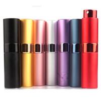 alüminyum sprey parfüm şişesi toptan satış-Difüzör makyaj Atommizer Şişe ZZA1363 Sprey 8ML 15ML taşınabilir döner sprey şişesi anodize alüminyum parfüm şişeleri cam parfüm yağları