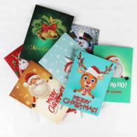 resim yılbaşı kutuları toptan satış-Noel Elmas Resim tebrik Kartları DIY Merry Christmas Dekor Tebrik Kartı Santa Clause 8 adet / grup parti Yaratıcı favor hediye FFA1345