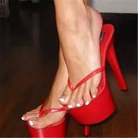 sandalias pulgadas al por mayor-Sandalias de plataforma de 17 cm, chanclas de fiesta de moda de 7 pulgadas con tacones altos, pantuflas de mujer sexys