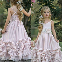 Wholesale pageant wedding dresses resale online - 2020 Beautiful Pink D Lace Boho Flower Girl Dresses For Wedding Lace Appliqued V Neck Toddler Pageant Gowns Chiffon Kids Prom Dress