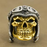 18k altın kafatası halkaları toptan satış-Vintage 925 Ayar Gümüş İki tonlu Altın Yüzük Büyük Ağır Pilot Kafatası Kask Erkek Biker Punk Yüzük Boyutu 7-14