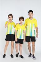 camisa de bádminton amarilla al por mayor-Conjunto de camiseta de baloncesto, fútbol, bádminton, niños y niñas, manga corta, secado rápido, impresión en color, color personalizado, nombre personalizado, amarillo 9911