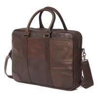 men s leather body bag оптовых- New Genuine Leather Shoulder Bag Men's Handbag Male Cowhide Messenger Bag Cross Body Handle Pack 15' Briefcase Portfolio