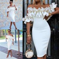 elegante gelegenheit kleider für frau großhandel-Afrikanische Mädchen Sommer Mantel Kleine Weiße Kurze Party Kleider Elegante Schulterfrei Blütenblatt Blume Ärmel Knielangen Frauen Anlass Kleider 2294