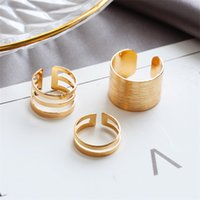Wholesale punk rock knuckle ring resale online - 10Sets Minimalist Hollow Out Ring Set Women Fashion Gold Silver Knuckle Ring Party Birthday Gifts Punk Rock Finger Jewelry