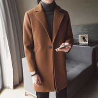 braune schwarze wolljacke groihandel-Winter-lange Wollmantel Mann Brown Warm-Mann-Mantel Korean Slim Fit Long Jacket Men Trend Braun Schwarz-Mantel-Männer Casaco Masculino Y191119