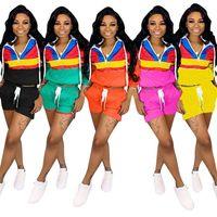 Wholesale girl hoodies green resale online - Summer Women Shorts Tracksuit Pathwork Color Match Long Sleeve Hoodies Hooded T shirt Shorts Pants Piece Sports Casual Sportwear A3193