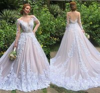 Wholesale sexy luxury crystals wedding dress for sale - Group buy Luxury Lace princess Wedding Dresses Illusion Long Sleeve crystal belt Buttons Back Wedding Gowns with Skirt robe de mariage