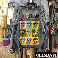 delik arka boncuk toptan satış-Yeni Sonbahar Geri Ağır Dudaklar Renk Boncuk Gevşek Denim Ceket Kadın BFwind Delik Gevşek Kot Ceketler Öğrenci Sokak Ceket Dış Giyim